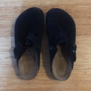 Birkenstock Boston Black Suede Clogs